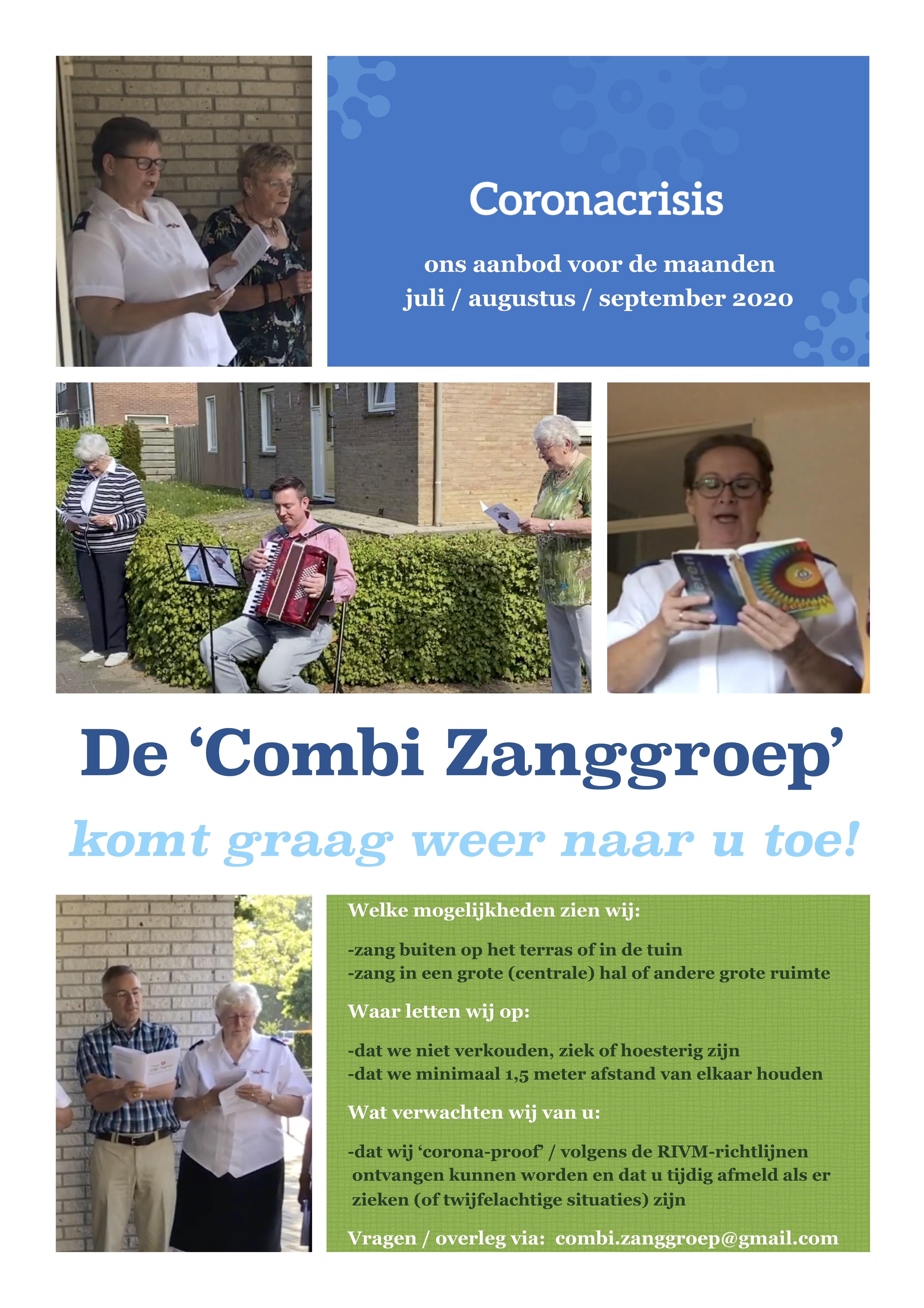 Flyer Combi Zanggroep (mogelijkheden juli - augustus - september 2020)